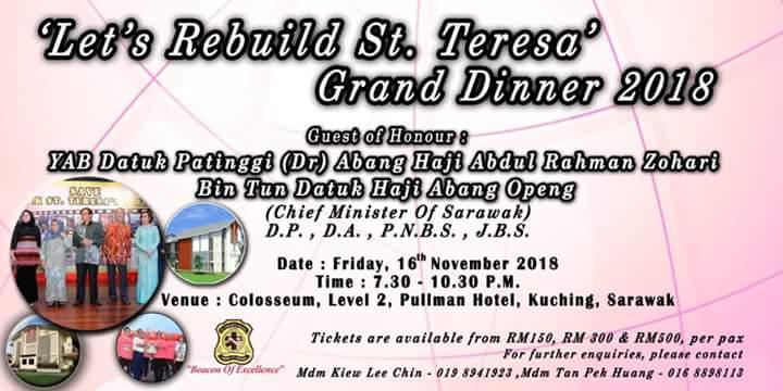 "Upcoming ""Let's Rebuild St.Teresa"" Grand Dinner 2018"